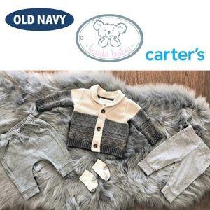 Baby boy infant bundle: sweater,  joggers 0-3